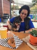 Judy and Bodhi at my neighborhood beer garden. Lucky dog!
