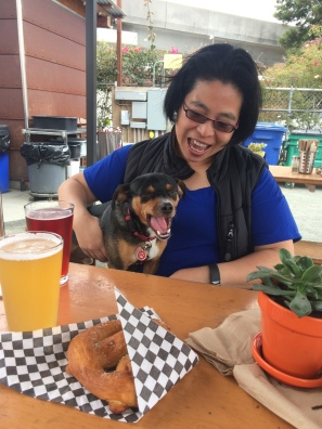 Judy and Bodhi at my neighborhood beer garden. Lucky dog!