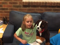 Keira and stuffed Bodhi